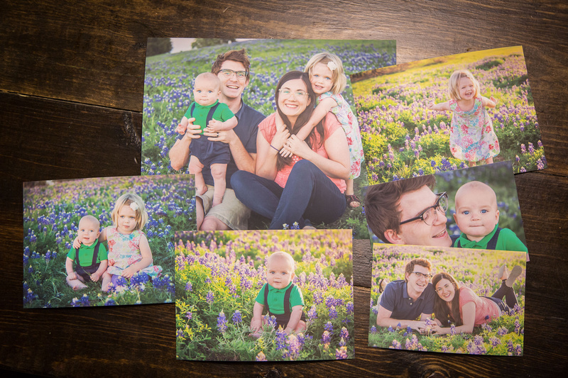 Professional Prints of Family Portraits in Bluebonnets in Frisco, Texas